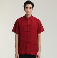 roupas de vermelho chinês venda por atacado-Pop 2019 Venda Quente Sólida Gola Mandarim Vermelho Kung Fu Chinês Man Manga Curta Camisas de Vestido de Algodão de Linho Top Roupas M L XL XXL XXXL 2712