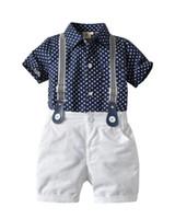çocuklar t gömlek model toptan satış-2019 Yeni Kids'Suit Yaz Kids 'Beyler Yıldız Gömlek Kemer Mekik Şort Üç parçalı Takım En çok satan yeni modeller BOYUTU 90-120 T