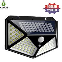 led-sonnenlicht-sensor großhandel-Weitwinkel Solarlampen 100leds 1200lm Solar-LED-Gartenlicht PIR Bewegungs-Sensor-Solarwand-Aufbauleuchte