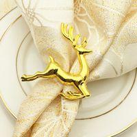 servilletas de colores al por mayor-Ciervos de Navidad Servilleta Anillos Aleación Servilleta Hebilla Hotel Wedding Party Decoración de la mesa Plata Colores de oro
