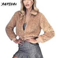 шерстяные пальто высокого качества оптовых-High Quality Women Fashion Fleece Coat Outerwear Ladies Warm Artificial Wool Coat Zipper Jackets Warm Faux Fur Sweatershirt
