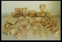 gemi bulmaca modeli toptan satış-Toptan Satış - Toptan-Ücretsiz Kargo DIY 1:16 Mini Mobilya 34pcs / set, Çocuk Eğitim Dollhouse Mobilya Seti, 3D Woodcraft Puzzle Modeli, brinquedos