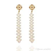 oro chino lleno al por mayor-ZEV LIU 14K Filled Aretes de Oro Puro pendientes Manual de Tejido de perlas genuinas perlas cuelgan gotas para el oído Tasseled estilo chino