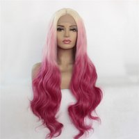 Wholesale 18 inch wig for sale - Group buy Top Quality Body Wave inches pink ombre Wig Glueless Synthetic Lace Front Wigs with high temperature fiber hair