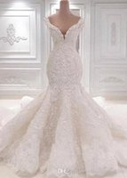 Wholesale cathedral train dresses resale online - 2020 Mermaid Lace Wedding Dresses Scoop Neck Full Lace Appliqued Crystal Long Cathedral Train Wedding Bridal Gowns