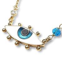 iyi şanslar kristal kolye toptan satış-Nazar Kolye Kadın Kızlar için Mavi Göz Altın Zincir Kolye Her Gün Iyi Şanslar Charm Koruma Kristal Takı