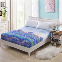 цветочная ошибка оптовых-Purple Flower Mattress Cover 180x200 Single Mattress Protector Bed Bug Proof Dust Mite Pad Cover for 45