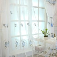 тканые шторные ткани оптовых-Flower in Mirror Embroidered Tulle Window Curtains for Living Room Bedroom Kitchen Sheer Curtains on the Window Fabric