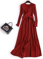 ingrosso maniche lunghe del vestito dal sequin nero-abbigliamento donna bordeaux nero gonne paillettes pizzo A-line split abiti da sera maniche lunghe scollo a v lunghezza del tè abiti da ballo di promenade
