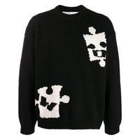 patrón de chaqueta de lana para hombre al por mayor-mens de lujo suéter de lana negro patrón de rompecabezas suéter camisa jersey jersey parejas de wh chaqueta