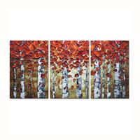 ölgemälde rahmen für schlafzimmer großhandel-Handgemalte 3D Ölgemälde Auf Leinwand Abstrakte Landschaft Birkenwald Bild Gerahmte Malerei Wandkunst Wohnzimmer Schlafzimmer Wand-dekor
