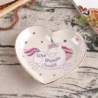 bandejas de exibição de jóias venda por atacado-Colar de chave Anel Em Forma de Coração Tray Sobremesa Rack de Exibição De Mesa De Armazenamento De Cerâmica Unicórnio Jóias Colorido Placa 13sy hh