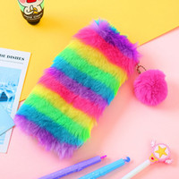 Wholesale cute girl pencil case resale online - Korean Penal Cute Plush School Pencil Case Cosmetic Bag Rainbow for Girls Large Big Pen Bag Stationery Pouch Box Supplies