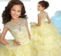 vestido ruffled amarelo venda por atacado-Luz amarela princesa vestido de baile meninas pageant vestidos mangas cristais frisado babados vestidos de desempenho crianças vestidos de festa formal bc2151