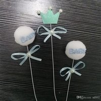 Wholesale year old baby gifts resale online - Powder Blue Baby Shower Favors Crown Bow Cake Decorate Lovely Spherical Ornament One Year Old Party Suit Card Insertion zyC1