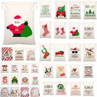 ingrosso decorazioni di babbo natale-54 Stili Sacchetti regalo di Natale Borsa con coulisse in tela con renne Borse per sacchi di Babbo Natale per bambini Decorazione WX9-1550