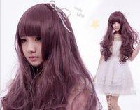 ingrosso capelli lunghi cosplay ragazza anime-Parrucca spedizione gratuita Moda Anime capelli lunghi ondulati Night Club Girl Lolita Cosplay Party frassino parrucca viola