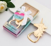 Wholesale bottle opener baby shower favors resale online - Pieces baby shower souvenirs Party favors of Gold Unicorn bottle Opener for bridal showers and gold Wedding gifts