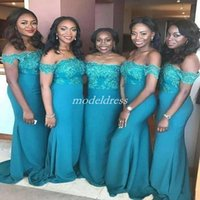 Wholesale african bridesmaids online - African Plus Size Mermaid Bridesmaid Dresses Off Shoulder Sweep Train Appliques Garden Country Beach Plus Size Wedding Guest Gowns