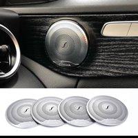 alto-falantes benz venda por atacado-2019 4 pcs Para Mercedes Benz Car Áudio Speaker Altifalante Da Porta Do Carro Guarnição Tampa 2015-2018 Classe C W205 / GLC 2016-2018 E-Class aço Inoxidável