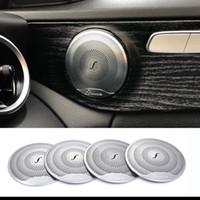 ingrosso 3.5 kit-2019 4 pezzi per Mercedes Benz Car Audio Speaker Car Door Altoparlanti Trim Trim 2015-2018 Classe C W205 / GLC 2016-2018 Classe E Acciaio inossidabile