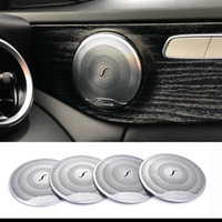 Wholesale c speakers resale online - 2019 For Mercedes Benz Car Audio Speaker Car Door Loudspeaker Trim Cover C Class W205 GLC E Class Stainless steel