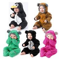 ingrosso vestiti per bambini di pile-Pagliaccetto con cappuccio invernale per bambini al dettaglio Pagliaccetti Toddler Infant fleece vestes cartoon animal animal maniche lunghe tutine Tute monopezzo Abbigliamento
