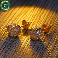 Wholesale Designer Earrings Mens Hip Hop Jewelry Fashion Diamond Luxury Brand Women Stud Earrings k Bling Bling CZ Gold Plated Screw Accessories