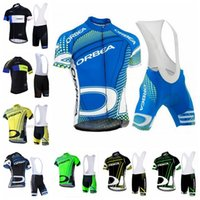 Wholesale team cycling jersey bib shorts set for sale - Group buy ORBEA team Cycling Short Sleeves jersey bib shorts sets summer men comfortable mtb outdoor sports jersey sets full zip S8191