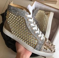 Wholesale spike rivet studs for leather online - Original Box Luxury Sneaker spikes sneakers studs pik pik toe rivets red bottom shoes for women men high top casual walking party fashion