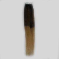 ingrosso nastri neri biondi ombre estensioni dei capelli-nastro di trama della pelle nera e bionda sui capelli di Remy nastro 40pcs nell'estensione capa dei capelli di estensioni dei capelli umani di trama di colore dell'estallo dei capelli di ombre