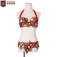 ingrosso set di danza pancia rossa-Costume da danza del ventre da donna Set completo di fiori egiziani Cintura del reggiseno rosso Carnevale Bollywood Nuovi arrivi 2018