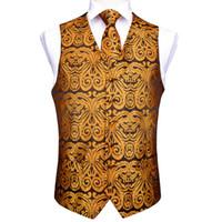 Wholesale vest tie set for sale - Group buy Men s Classic Party Wedding Gold Paisley Jacquard Waistcoat Vest Pocket Square Tie Suit Set Pocket Square Set MJ