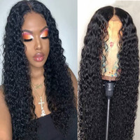 Wholesale real human unprocessed hair wigs resale online - Real Remy Human Hair Wigs Bleached Knots Water Wave Glueless Unprocessed Virgin Brazilian Remy Hair Full Lace Front Wig Pre Plucked