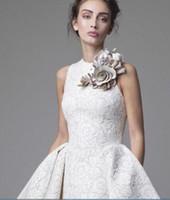Wholesale short wedding dresses krikor for sale - Group buy Lace Wedding Dresses Krikor Jabotian Jewel Sleeveless High Low Wedding Dresses Short A Line Beach Bridal Gowns With Flower
