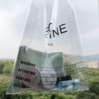 ingrosso borse in plastica in pvc-Designer- 2019 Brand Logo Clear PVC Borse da donna Gelatina di plastica trasparente Summer Beach Bags Fashion 2PCS Tote