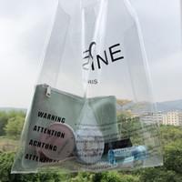bolsos de pvc de plastico al por mayor-Diseñador- 2019 Marca Logo Clear PVC Mujer Bolsos de jalea de plástico transparente Verano Playa Bolsos Moda 2 UNIDS Tote