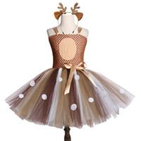 ingrosso tutus marrone-Brown Deer Girls Tutu Dress Halloween Natale Cervo Costume bambini Tutu Abiti per ragazze Birthday Party Dress Abbigliamento bambini J190616