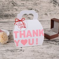 Wholesale white paper hearts for sale - Group buy 5pcs Thank You Candy Boxes With Handle Heart Design White Paper Gift Box Cookie Chocolate Bags Wedding Party Birthday Decoration