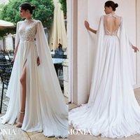 Wholesale 2020 New A Line Wedding Dresses High Neck Long Sleeve Tulle Lace Applique Sequins Split Wedding Gowns Sweep Train robe de mariée
