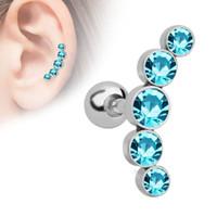 хрустальные хрящевые украшения оптовых-MODRSA 1Pair Rhinestone Ear Bone Nail Stainless Steel Cartilage Earrings Women Body Jewelry Helix Tragus Piercing Oreja