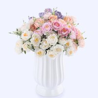 Wholesale bouquet lotus flowers for sale - Group buy 10 Heads Vivid small peony artificial flowers bouquet autumn winter rose white silk fake lotus flowers wedding home decoration