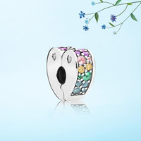 gold farbe schmuck set großhandel-Neue ankunft Profusion farbe Herz Clips Charme Set Original Box für Pandora DIY Armband CZ Diamant Charme Schmuck zubehör