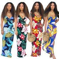 Wholesale maxi slips online - Women Slip Maxi Dress Summer Floral Long Dresses Spaghetti Overall Bohemian Slim Skirt Backless Party Club Beach Dresses Street Wear C51407