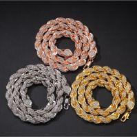 collier incrusté achat en gros de-Alliage incrusté de diamants 9mm collier de torsion en or bijoux hiphop américain homme bijoux livraison gratuite 18 pouces 20 pouces 24 pouces