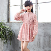 Girls Dresses 2019 New Fashion Spring Solid Cotton A-line Knee-length Pink Kids  Dress Casual Regular Lace Children Clothes Ds381 d4ebfd15de66
