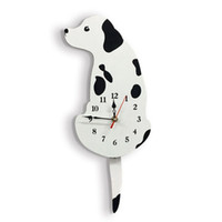 Wholesale acrylic swing resale online - Cartoon Animal Wall Clock Lovely Dog Acrylic Clock with Swing Tail Home Decor Y1QB
