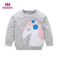 mode imprimé t shirts filles achat en gros de-MUQGEW 2018 Enfant En Bas Âge De Couleur Unie Bébé Imprimer Fleur Fille Garçon T-shirt Top Costume Roupa Infantil Menina Mode #EW