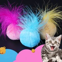 Wholesale interactive plush toys resale online - pet Squeak Feather ball Plush toy Catnip Sound Interactive Toys Small Bell Pet Cat Supplies Funny Toy Mini Chromatic Ball FFA1340