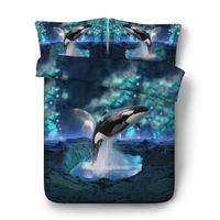 königin bettwäsche setzt für jungen großhandel-Jungen Löwe Tröster Abdeckung voller Größe Galaxie Bettwäsche-Sets für Universum Bett Set Queen Star Duvet Twin Mädchen Baumwolle blau Tagesdecke Delphin